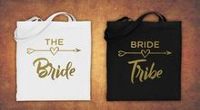 personalize Hen Do wedding bride tribe Gold glitter tote bags Champagne Party gift Bags Bachelorette bridal shower favors