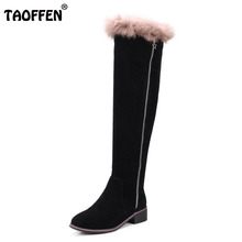 Buy TAOFFEN Size 33-44 Winter Shoes Women Real Leather Med Heel Knee Snow Boots Women Zipper Fur Square Toe Long Winter Botas for $78.98 in AliExpress store