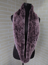 Genuine rex rabbit fur  circle scarf wrap cape violet with pale color tips