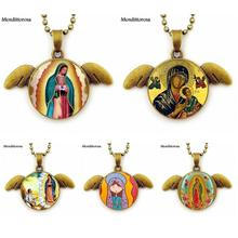 Buy Women Virgin Mary Sacred Heart Religious Necklace Glass Cabochon Beads Chain Bronze Angel Wings Necklace Jewelry for $1.99 in AliExpress store