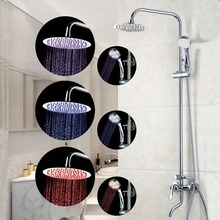 Brass wall mounted rainfall LED shower sets,Chrome bathroom head shower faucet with led spray hand  Shower Set