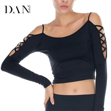 DANENJOY Sexy Long Sleeve Yoga T-shirts Women Compression Black Fitness Crossed Strip Tights Running Sports Shirts Gym Quick Dry(China)