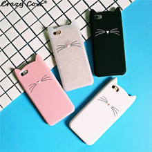 Crazy Cow 3D Cute Cartoon Pink Beard Cat Ears Phone Cases For iPhone 5 5s Se 6 6s 6 Plus 7 7Plus Soft Silicone Cover Funda Coque