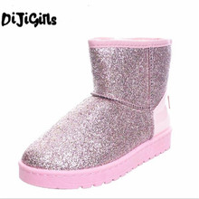 4311724d789 Bling Glitter Snow Boots Women Thick Fur Warm Flat Platform Cotton Sequined  Cloth Ankle Boots Winter