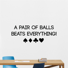 Poker Wall Decal Play Cards Chips Casino Motivational Lettering Poster Wall Sticker Room Bedroom Wall Art Decor Mural  M691