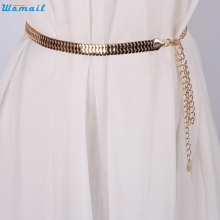 Womail Newly Design Women Lady Fashion Fish Skin Pattern Metal Gold Chain Belt Waist Strap 160616 Drop Shipping