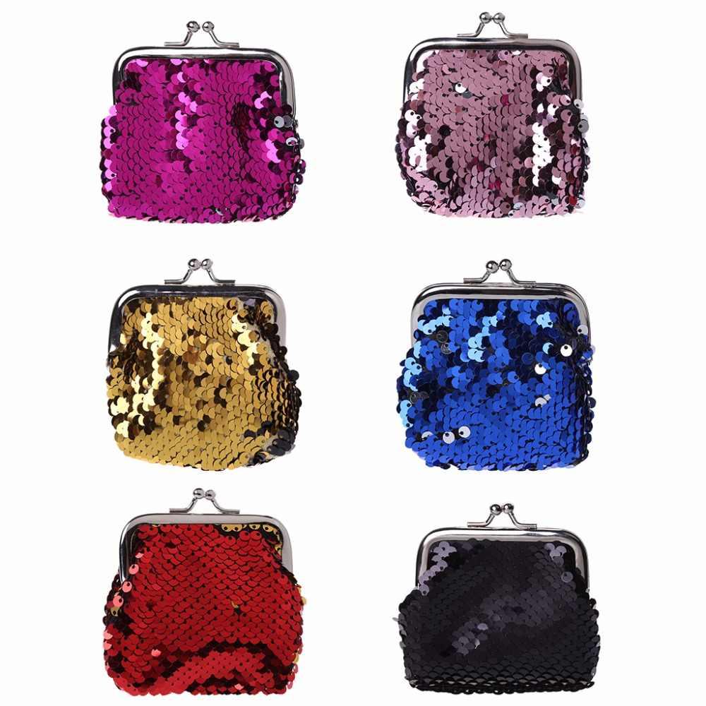 THINKTHENDO Sequins Buckle Women Fashion Shiny Purses Mini Wallet Faux leather  Coin Purse Girl Change Purse 4c220318a36d