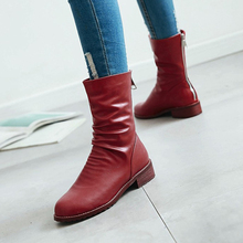Winter Shoes Women Western Boots Round Toe Pleated Thick Heel Fashion Boots Zip White Red(China)