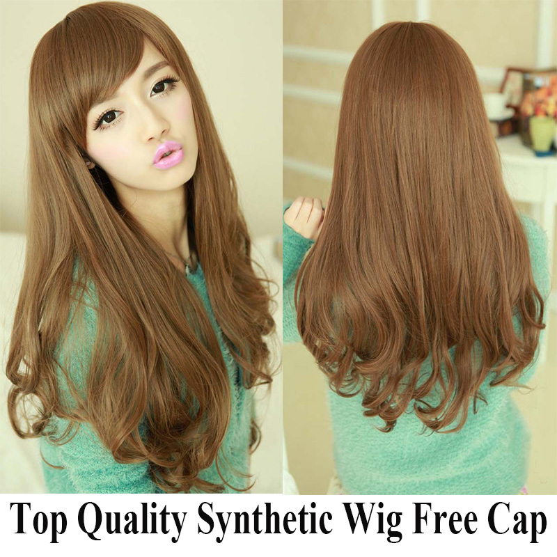 Free Wig Cap Gift Golden Brown High Temperature Synthetic Wig For Women Long Wave Hair Wigs High Quality Blonde Wig Cheap Price<br><br>Aliexpress