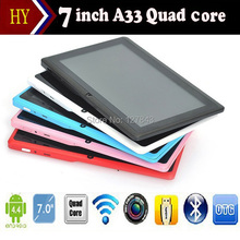 New Cheap 7 inch Q88 A33 quad core Tablet PC Capacitive Screen Android 4.4 tablet 512M 4G Dual camera Allwinner A33 tablet