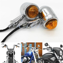 2X Chrome Bullet Mini Heavy Duty Motorcycle Bulb Turn Signal Indicators Lights For Harley Blinkers Cruiser