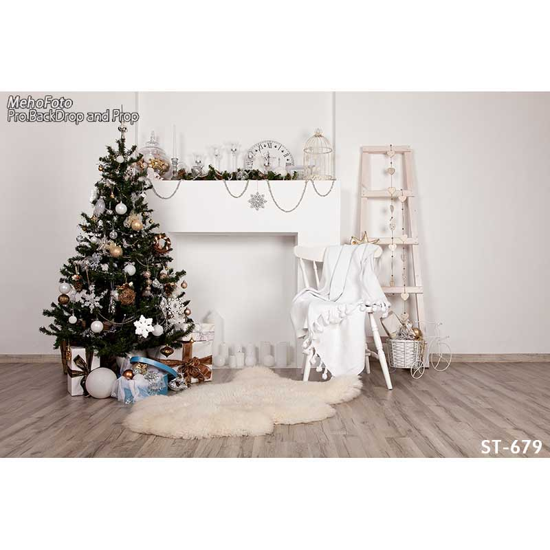 Horizontal vinyl print Xmas decoration white wall room photography backdrops for photo studio portrait backgrounds ST-679<br>