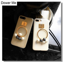 Dower Me Korea Fashion Big Metal Ring Grape Cluster Design Soft Phone Case Cover For iPhone X 8 7 7Plus 6 6S 6Plus Gold White(China)