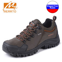 Shipped From Russia MERRTO Men Waterproof Hiking Shoes Boots Professional Outdoor Cowhide Walking Shoes Boot Sneakers zapatillas(China)