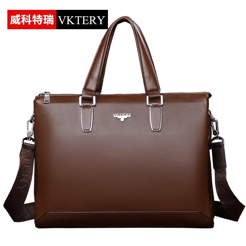 VKTERY Men Luxury Brand PU Leather Business Briefcase Male Handbag Messenger Bag Casual Shoulder Bag 2016 New Free Shipping<br>