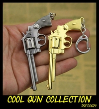 2 Color Classic Golden Handgun Cowboy Revolver Keychain Super Cool Weapon Toy Gift Key Ring Pistol Model Jewelry Key Collector