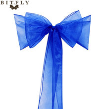 "Free Shipping 50 Pieces royal blue 7""x108""party Chair Cover Sash Bow Supply Wedding Decorations more than 2 bags disscount(China)"
