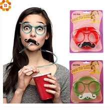 1Set DIY Creative Straws Funny Mustache/Beard Glasses Straws Baby Birthday/Wedding Party Decoration Drinking Straws Kids Toys(China)