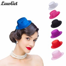 Fashion Women's Mini Satin Top Hat Clips Cocktail Hen Party Church Fascinator Hats Making Craft DIY Hat Base Kids Dance Hats(China)
