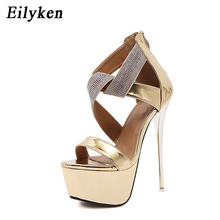 Eilyken 2017 Style Women Sandals 16cm high heels Summer Platform Pumps Party Club Woman Sequined Crystal Gladiator Sandals(China)