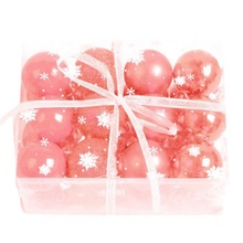 Chic 24 / Box Christmas Ball Decoration Plastic Candy Color Christmas Ball Bright Dumb Powder Pearl Ball Mixed Pink Purple(China)