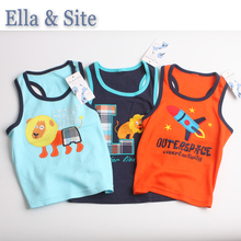 3 pieces/lot 2017 Summer Kids Children's Clothing Boys T-Shirts sleeveless cotton tees for 1-5 years fashion baby clothes(China)