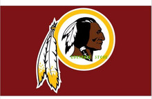 Free shipping  3FTx5FT Washington Redskins logo Flag  Banner 100D Polyester flag 90x150cm