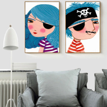 HAOCHU Cartoon Pirate Boy/Girl Yearn for Ocean Blue Canvas Painting Art Poster Wall Pictures for Children Room Decor