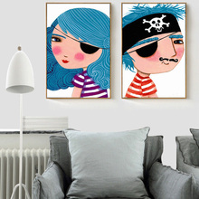 HAOCHU Cartoon Pirate Boy/Girl Yearn for Ocean Blue Canvas Painting Art Poster Wall Pictures for Children Room Decor(China)