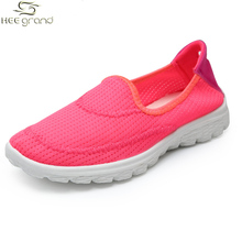 Summer Style Women Mesh Sneakers Breathable Walking Shoes Flat With Slip-on Shoes For Woman XYP417