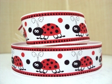 7/8''(22mm) cartoon ladybug dots monkey insect Grosgrain ribbon 50 yards,DIY handmade materials, wedding gift wrap,50Yc1646