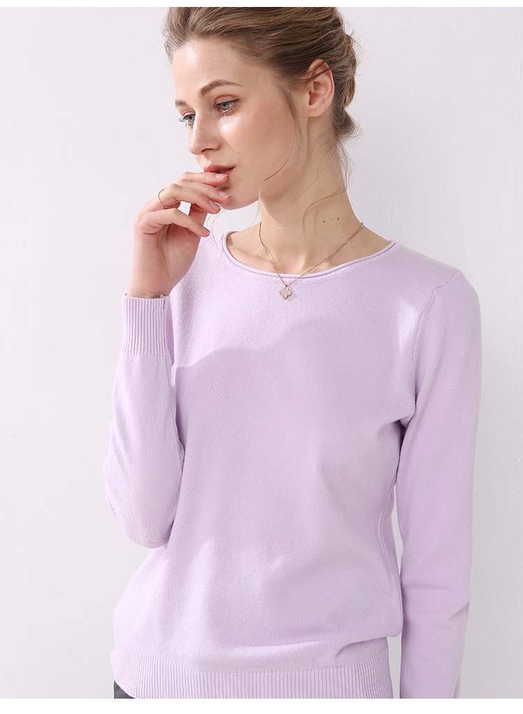 Women knitting sweater long sleeves curled O-neck collar female Short Casual Solid fashion thin pullover Ladies winter sweaters 16