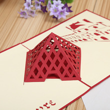 Direct manufacturers 3D stereo creative building paper hollow DIY handmade gift card custom greeting cards