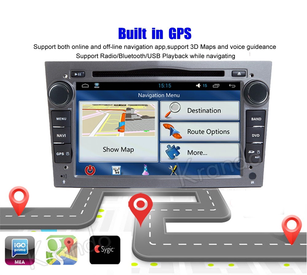 krando android car radio gps for opel universal blcak navigation multimedia system (6)