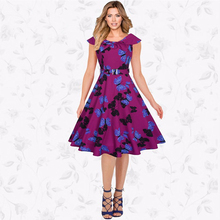 2017 RUIYIGE New Arrival Women Floral Print Sleeveless Vintage 50s 60s Casual formal evening party Retro lady Dres Skirt vestido