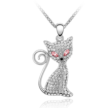 Nice Anniversary Gift Sexy Cat Pendant Necklace full Rhinestone Female Crystals Collar Women Jewelry Made with Swarovski Element