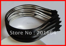 10PCS 5mm Black Satin Ribbon single Covered Plain Metal Hair Headbands Free shipping,BARGAIN for BULK