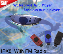 Sport music 8GB memory underwater MP3 Player radio FM head wearing MP 3 Players Diving swim surfing sports Super waterproof IPX8
