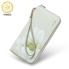 Pmsix Brand Zipper Women Leather Clutch Wallet Cattle Split Leather Chinese Wind Flower Ladies Retro Clutch Money Bag P420001