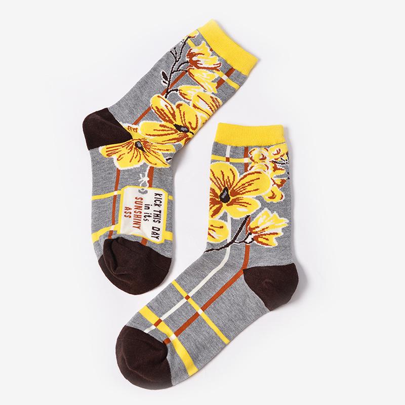 Foot 22 25cm Short Socks Flower Words Bee Sunny Pony Girl Blue Cloud  Firework Morning Orange
