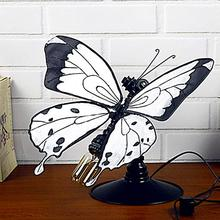 Personality Butterfly Iron Water Pipe Desk Table Lamp Light Base Holder for E27 Bulb Vintage Desk Lights Room Decoration