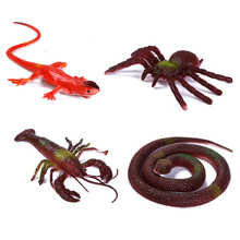 Small Mini Plastic Animal Figures Cartoon Animal Crawling Insect Model Toy For Kid Funny Tricky Jokes Halloween - Color Random(China)