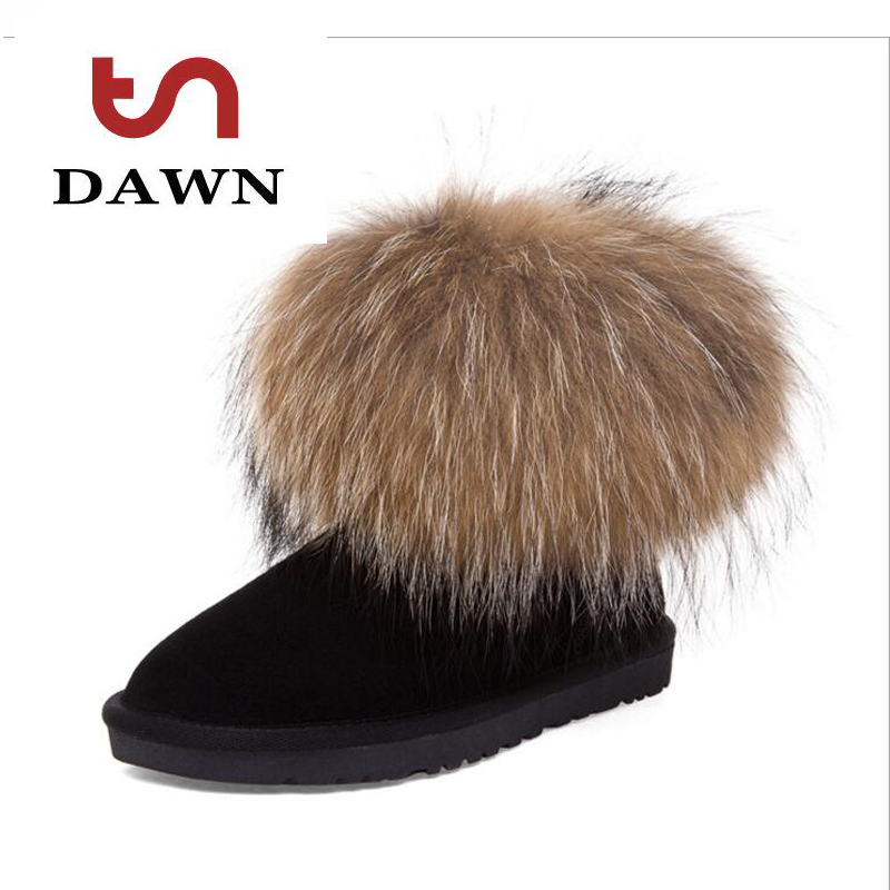 Women Ankle Boots Winter Warm Fashion Round Toe Fox Fur Slip On Flat Boot Shoe Black Lady Snow Boots Party Shoes Feminina Botas<br><br>Aliexpress