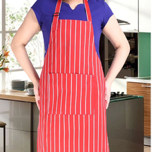 Kitchen Apron Adult Cook Waiter Polyester Stripe Bib Apron with 2 Pockets Chef Waiter Kitchen Cook Tool 3 Styles
