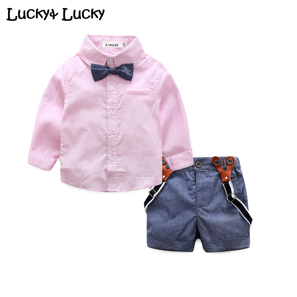 Fashion baby clothing set shirt with bow +overalls shorts newborn clothes<br><br>Aliexpress