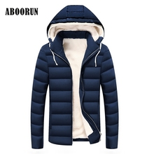 ABOORUN 2017 Men Winter Jacket Parkas Velvet Thick Coats Male Warm Slim Hooded Clothes Casual Wear W2212(China)