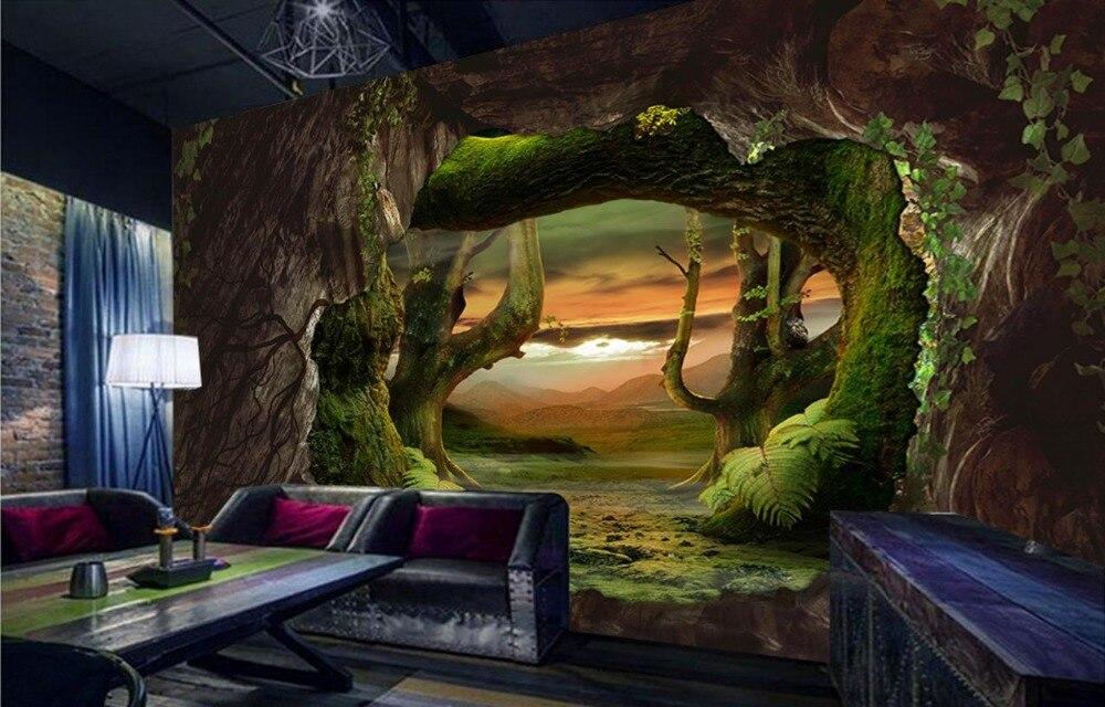 Custom Modern Wallpaper Cave stone Virgin forest 3d Wallpaper Living Room Covering Mural Roll Bedroom Large backdrop <br>