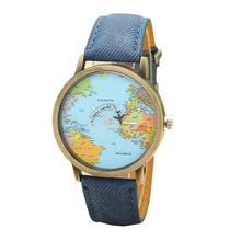 BAOLANDE2016 Hot Sale Fashion Global Travel By Plane Map Women Dress Watches Denim Fabric Band Good-looking JUN 2(China)