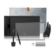 2 Pens Parblo A610 Graphics Drawing Digital Tablet with Wool Liner Bag+Protective Film+Finger Glove+10 Pen Tips