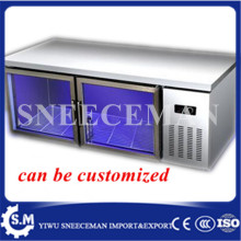 Blu-ray table, refrigerated frozen glass freezer, commercial refrigerator fresh cabinet, kitchen flat cold console(China)